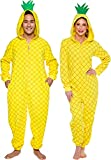 Silver Lilly Pineapple Costume - Adult Slim Onesie - Novelty Fruit Pajamas (Yellow, Small)