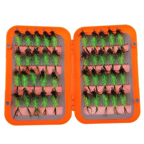 L-MEIQUN, 40pcs Fliegenfischen Fliegen Kit Insekten Nymph Emerger Fliegen Wet Fly Tackle & Box (Farbe : Light Green)