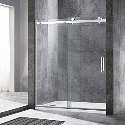 """WOODBRIDGE Deluxe Frameless Sliding Shower, 56""""-60"""" Width, 76"""" Height, 5/16"""" Clear Tempered Glass, Stainless Steel Finish, Designed for Smooth Door Closing. MSDF6076-B, Brushed Nickel"""