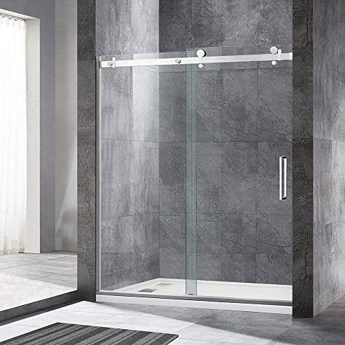 "WOODBRIDGE Deluxe Frameless Sliding Shower, 56""-60"" Width, 76"" Height, 5/16"" Clear Tempered Glass, Finish, Designed for Smooth Door Closing. MSDF6076-C, F-Series: 60"" x 76"" Chrome"