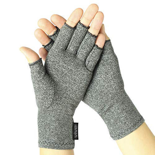 Vive Arthritis Gloves - Compression Gloves for Rheumatoid & Osteoarthritis - Hand Gloves Provide Arthritic Joint Pain Symptom Relief - Men & Women - Open Finger (Medium)