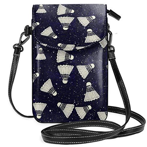 DJNGN Space Badminton Kleine Handy Geldbörse Tasche Smartphone Geldbörse Geldbörse mit abnehmbarem Gurt