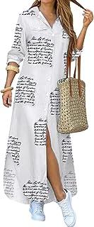 Button Down Shirt Dress for Women Midi Plus Size Long...