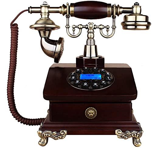 Teléfono Decoración Modelo Home Desk Decoration Classic European Retro Landline Home Landline, estilo retro de madera retro dial giratorio con cable telefono y oficina, una variedad de estilos para el
