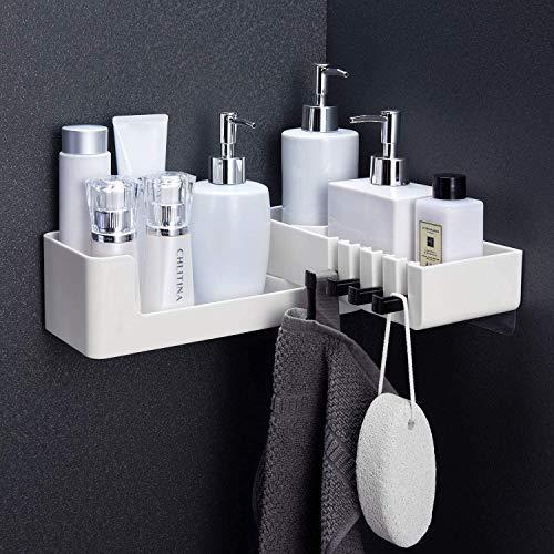 Estante de Esquina para baño Autoadhesivo - Carrito de Ducha Giratorio sin taladrar con 4 Ganchos para Canasta de baño Almacenamiento de Cocina