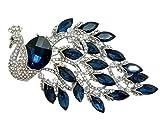 TTjewelry Elegant Peacock Bird Austrian Crystal Brooch Pin (Blue)