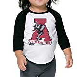 OOKOO Kids University of Alabama Crimson Tide Child's 3/4 Sleeve T-Shirt Black 4 Toddler