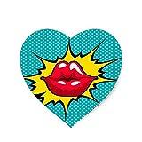 Cojín de ratón del arte pop (en forma de corazón) del beso 8.6'x 7.9'