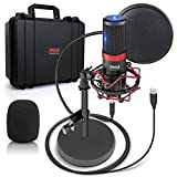 USB Microphone Podcast Recording Kit - Audio Cardioid Condenser Mic w/ Shock Mount Stand & Pop Filter, for Gaming PS4, Streaming, Podcasting, Studio, YouTube, Works w/ Windows PC Mac - Pyle PDMIKT200