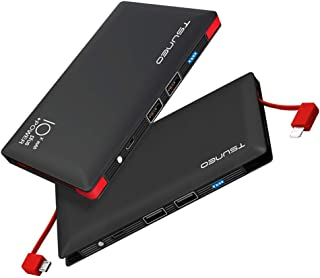 モバイルバッテリー 10000mAh microUSBコネクタ  2ポート スマホ充電器 ブラック