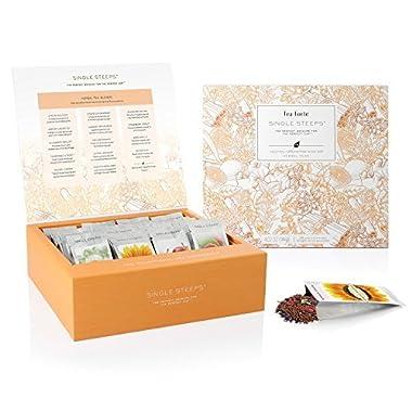 Tea Forté SINGLE STEEPS Loose Leaf TEA CHEST, 28 Different Single Serve Pouches - Herbal Tea