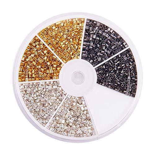 PandaHall Elite - 4350 Pcs 3 Couleurs Perles Tube à Sertir Perle Intercalaire en Laiton Perles à Ecraser pour la Fabrication de Bijoux, 1.5-2mm