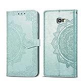 Bear Village Hülle für Galaxy J4 Core, PU Lederhülle Handyhülle für Samsung Galaxy J4 Core, Brieftasche Kratzfestes Magnet Handytasche mit Kartenfach, Grün