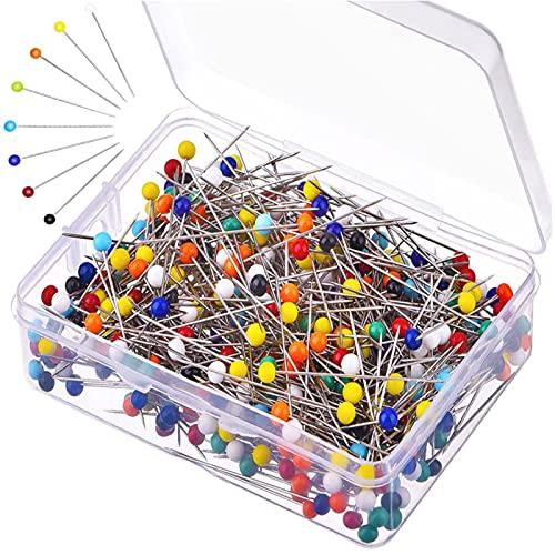 500 Pezzi Spilli da Sarta spilli Testa Vetro Spilli con Testa Vetro Spilli con Testa Colorata Multicolore per Artigianato Cucito Fai,Sartoria Gioielli Componenti Fiore Decorazione