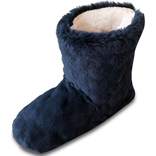 TOESTERS Damen-Frauen-Mädchen-Winter-Schnitt-Stapel-Entwurf geprägter Druck-Stiefel-Pantoffel mit gemütlichem Fleece-Futter