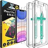 XeloTech [2 Stück] Premium Schutzglas für iPhone 11 Pro, iPhone XS/X mit Schablone zur Positionierung - Panzerfolie aus 9H Glas - Handy-Hülle kompatible Schutzfolie Folie