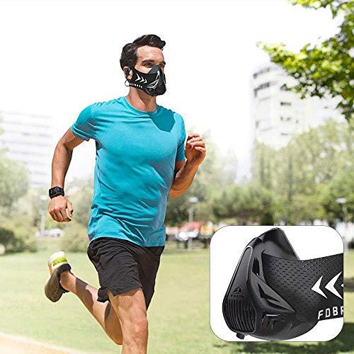 FDBRO Training Mask,Maschera di Allenamento 4.0 Maschera Allenamento fiato Alta Quota per Corsa e Vari Sport,Regolabile Unisex Formazione anaerobica con Carrying Case & Spedizione Gratuita (Nero, L)