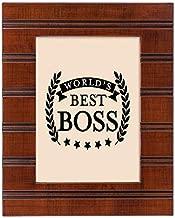 Elanze Designs World's Best Boss Woodgrain Brown 5 x 7 Beaded Board Wood Picture Frame Plaque