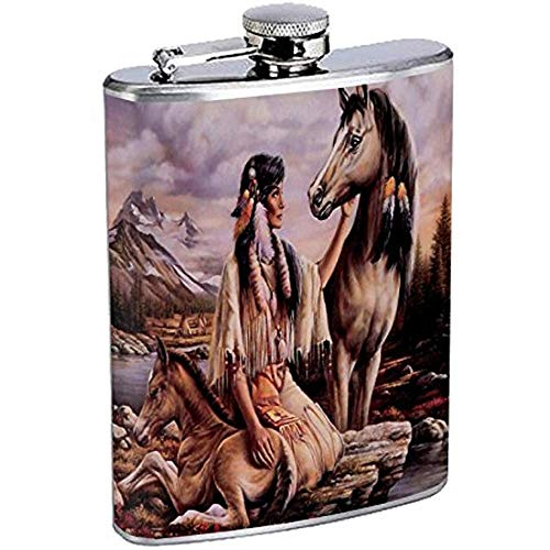 Indianer Flachmann D3 Edelstahl Tribes Zelt Wild West 7OZ