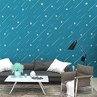Chbrket 装飾的な台所の調理台の壁の装飾のための壁紙ロール自己粘着性のビニールフィルムの皮および棒紙家具のステッカー 青い星60X700CM