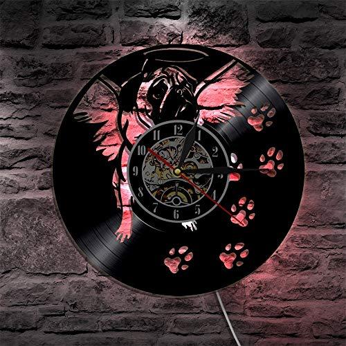 Lindo amistoso perro carlino reloj de vinilo casa arte mascota cachorro animal luz LED sala de estar decoración pared hecho a mano regalo para los amantes del perro luces LED