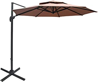 Sundale Outdoor 11 ft Offset Hanging Umbrella Market Patio Umbrella Aluminum Cantilever Pole w/Stylish Dual Wind Vent, Cover, Crank Lift and Cross Frame, 360°Rotation, for Garden, Deck, Backyard, Tan
