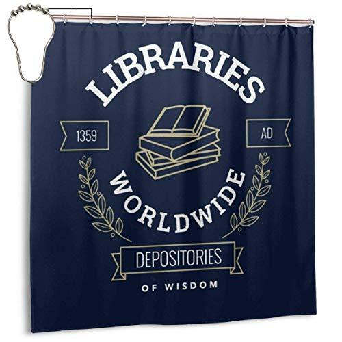 Simple Love Av wasserdichte Duschvorhangbibliotheken aus Polyestergewebe Weltweite Depots of Wisdom 1359AD Print Dekorativer Badezimmervorhang mit Haken, 72 '' x 72