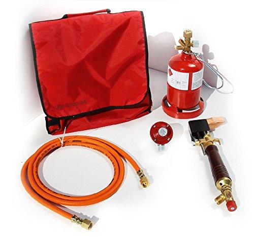 PROFI Dachdecker Lötkolben-Set/Weichlötgarnitur mit Lötkolben, Kleinstflasche, Gasschlauch, Druckminderer, Tasche (Lötset, Lötbedarf, Kleinstflasche)