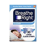 Breathe Right Nasal Strips to Stop Snoring, Drug-Free, Clear for Sensitive Skin, 30 count (Pack of 2)