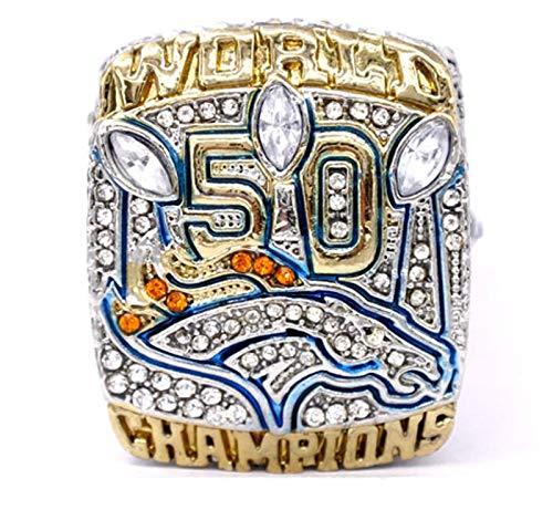 YANGLIXIA Campeonato de fútbol Americano Anillos Broncos 2015 Fans de los Deportes para Hombres Anillo Regalos de Souvenirs con Caja 9#