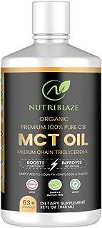 NUTRIBLAZE 100% Pure C8 MCT Oil Caprylic Acid Triglycerides 32oz | Unflavored Keto & Paleo Diet Supplement ...