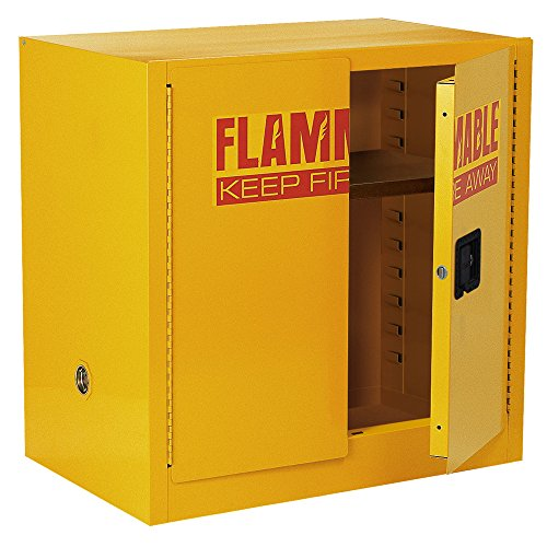 "Sandusky Lee SC22F Yellow Steel Safety Cabinet for Flammable Liquids, 1 Shelf, 2 Door Manual Close, 22 Gallon Capacity, 35"" Height x 35"" Width x 22"" Depth"