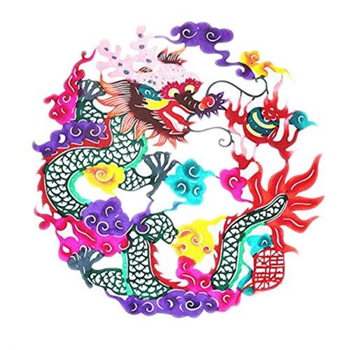 Black Temptation 4PCS Chinese Traditional Art Paper Cut Décor Collection colorée Souvenir-A04