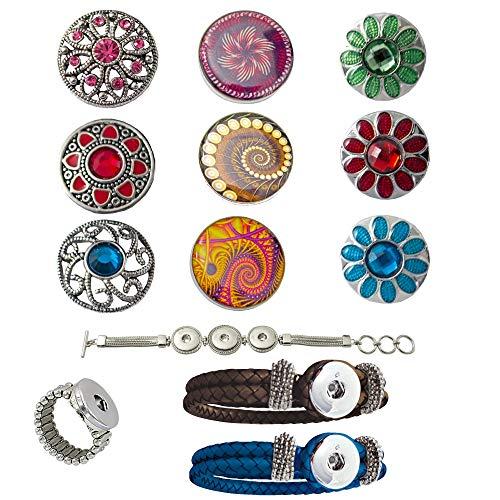 Damen Mädchen, Click-Buttons Druckknöpfe Chunks Set für: Ring,2 Lederarmbänder, 1 Metallarmband & 9 klick Buttons. Schmuck Sets sind tolle Frauen/Mutter/Freundin,Schwester