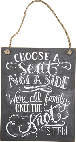 Primitives by Kathy Chalk Art Hanging Sign, 8' x 10', Choose A Seat Not A Side