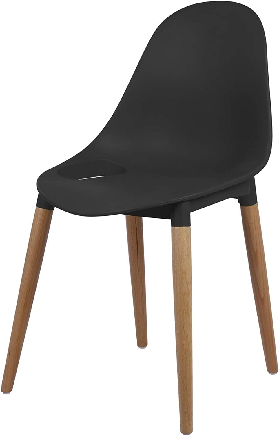 LRW Plastic Backrest Chair, Adult Leisure Chair, Solid Wood Office Chair, Creative Conference Chair, Black