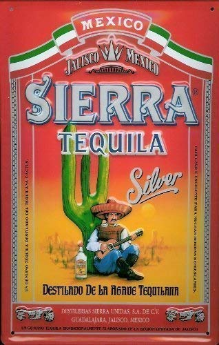 Tarfy Sierra Tequila Silver Blechschild Schild Blech l Retro Weinlese-Blechschild-Dekorations-Bar-Kaffee-Café-Nachmittagstee-Grill-Geschäft