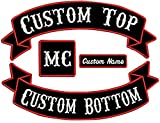 Custom Embroiderd Full Vest Biker 4pc Patch Set - 13' Top & Bottom Rockers, 1x4 Name Tag, 3' Square - Banner Style (Black)