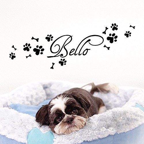 Grandora Wandtattoo Wunschname + Hundepfote Knochen I schwarz (BxH) 50 x 15 cm I Flur Wohnzimmer selbstklebend Aufkleber Wandaufkleber Wandsticker W806