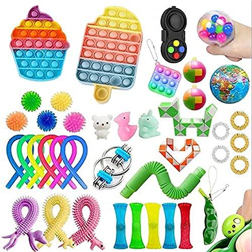 YANGMEI Fidget Speelgoedset, 40-delige sensorische gereedschapsset, een reliëfhandspeelgoed voor kinderen en volwassenen, zeer geschikt voor ADHD ADD Angst Autisme