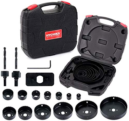 Hole Saw Set HYCHIKA 19 Pcs Hole Saw Kit with 13Pcs Saw Blades, 2 Mandrels, 2 Drill Bits, 1 Installation Plate, 1 Hex Key, Max Size 6