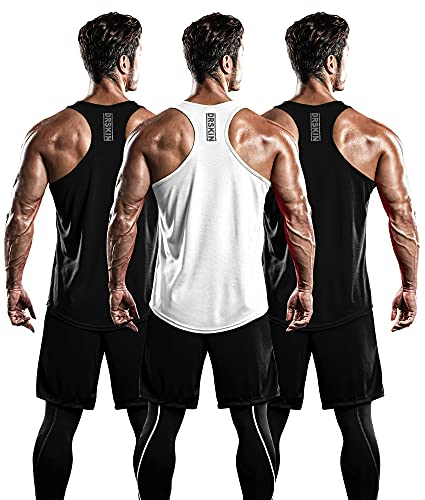 DRSKIN Men's 3 Pack Dry Fit Y-Back Gym Muscle Tank Mesh Sleeveless Top Fitness Training Cool Dry Athletic Workout (BTF-ME-TA-(B,B,W), L)