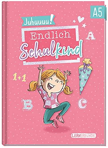 Endlich Schulkind! A5 Erinnerungsbuch zur Einschulung für Mädchen by Häfft [Rosa] Hardcover Einschulungsalbum Schulanfang, erster Schultag | Geschenk für die Schultüte | klimaneutral & nachhaltig