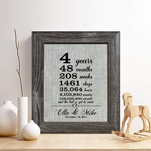 Personalized 4th Linen Anniversary Gift for Him or Her
