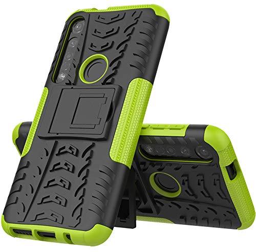 Yiakeng Cover Moto G8 Plus, Doppio Strato Antiurto Protezione Silicone con Kickstand Rugged Custodia per Cover Motorola Moto G8 Plus (Verde)