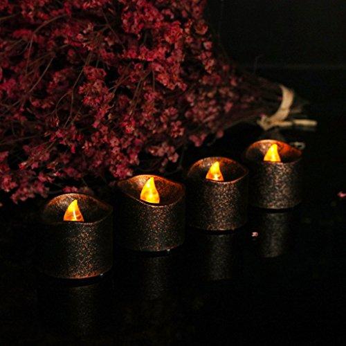 Schwarz LED Flammenlose Kerzen, Elektrische LED Teelichter Kerzen für Halloween, Weihnachten, Party, Bar, Hochzeit