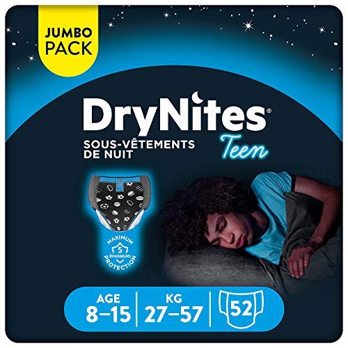 Huggies DryNites, Sous-vêtements de nuit absorbants jetables, Pour garçons, Taille: 8-15 ans, 52 culottes