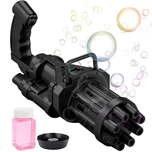 salipt Gatling, máquina de burbujas de 8 orificios, pistola de burbujas de juguete automática para exteriores, pistola de burbujas para niños y niñas, juguetes para exteriores para niños