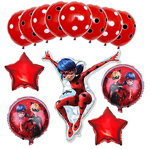 Generisch Miraculous Ladybug y Cat Noir - Globos para fiestas de cumpleaños infantiles, 13 piezas, diseño de Ladybug y Cat Noir