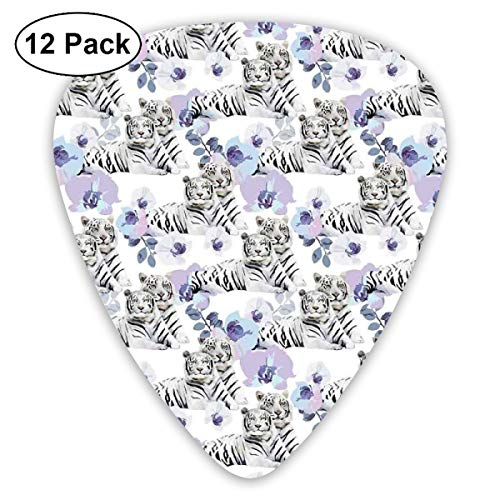 Guitar Picks12pcs Plectrum (0.46mm-0.96mm), Savannah Nature Leopards With Exotic Flowers Boho Wild Life Theme African Violets,For Your Guitar or Ukulele
